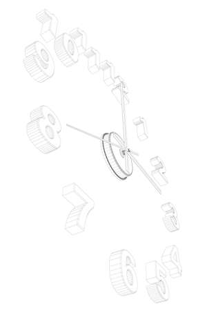 Watch wireframe without case isolated on white background. Perspective view. 3D. Vector illustration Vettoriali