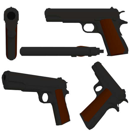 Set with a low poly pistol .3D. Vector illustration Vettoriali