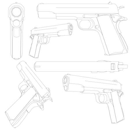 Set with a contour of a pistol. Contour of a pistol in different positions isolated on a white background. 3D. Vector illustration