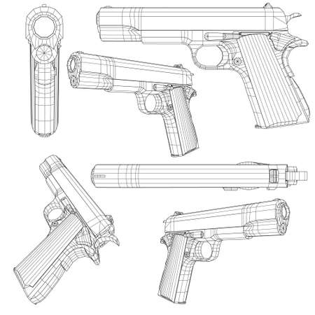 Set with a low poly pistol . Wireframe of a pistol in different positions isolated on a white background. 3D. Vector illustration Vecteurs