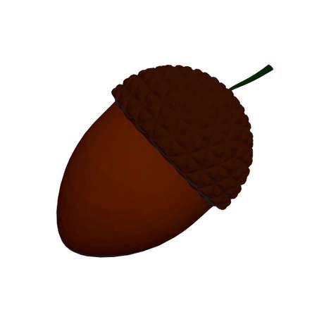 Brown acorn isolated on white background. 3D. Vector illustration Vettoriali