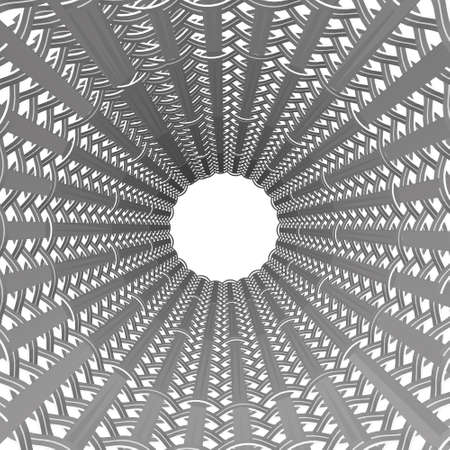 Decorative tunnel with a white circle at the end. 3D. Vector illustration
