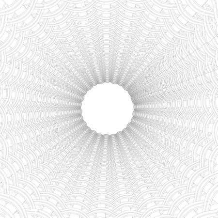 The outline of the decorative tunnel with a white circle at the end. 3D. Vector illustration Vettoriali