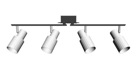 Stage lighting device isolated on white background. 3D. Vector illustration