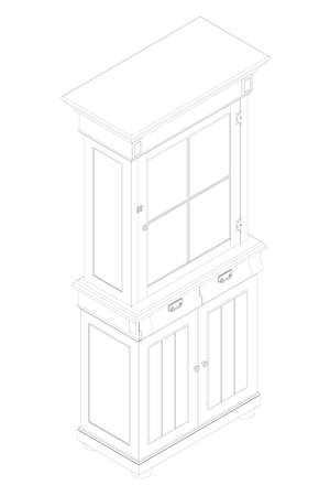 The outline of a wooden cabinet. Decorative sideboard. Isometric view. Vector illustration Vettoriali