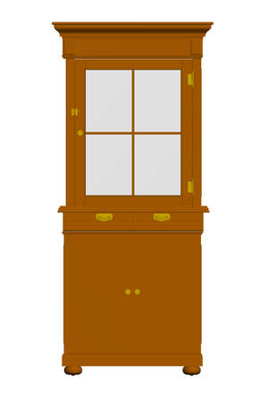 Model of a wooden brown cabinet. Decorative sideboard. Front view. Vector illustration