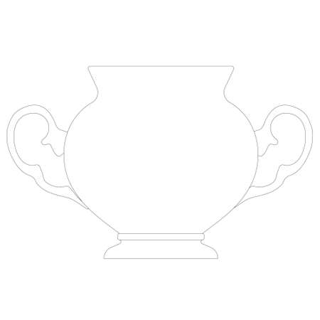 Contour of an antique decorative teapot from black lines isolated on a white background. Front view. Vector illustration Vettoriali