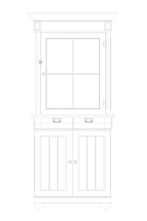The outline of a wooden cabinet. Decorative sideboard. Front view. Vector illustration
