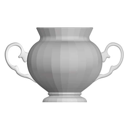 Antique decorative teapot. Polygonal gray teapot. Front view. 3D. Vector illustration Vettoriali