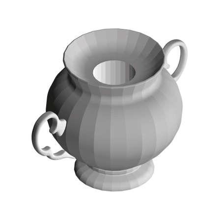Antique decorative teapot. Polygonal gray teapot. Isometric view. 3D. Vector illustration Vettoriali