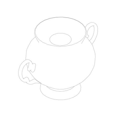 Contour of an antique decorative teapot from black lines isolated on a white background. Isometric view. Vector illustration Vettoriali