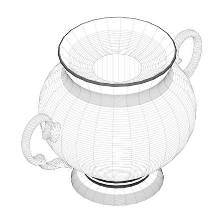 Wireframe of antique decorative teapot from black lines isolated on white background. Isometric view. 3D. Vector illustration Vettoriali