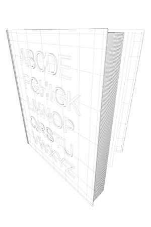 Wireframe English alphabet from black lines isolated on white background. The open book stands on its edge. 3D. Vector illustration