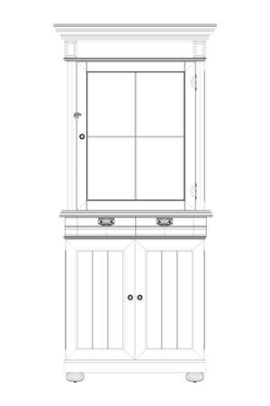 Old cabinet wireframe from black lines isolated on white background. Front view. 3D. Vector illustration