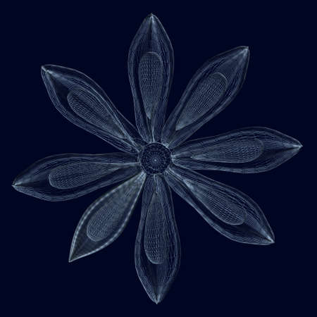 Abstract flower wireframe made of blue lines isolated on dark background. 3D. Vector illustration