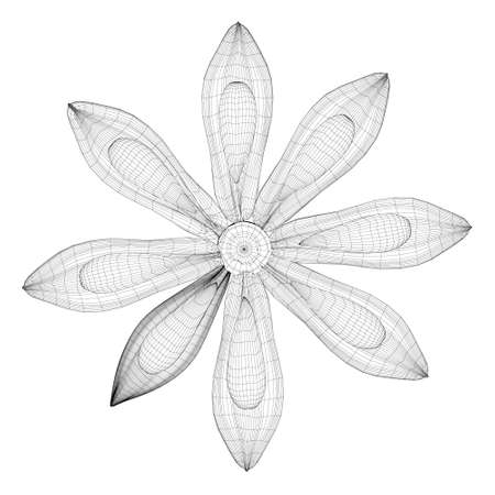 Abstract flower wireframe made of black lines isolated on white background. 3D. Vector illustration