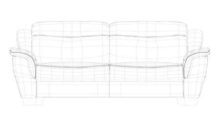 Wireframe of a polygonal sofa made of black lines isolated on a white background. 3D. Vector illustration Vettoriali