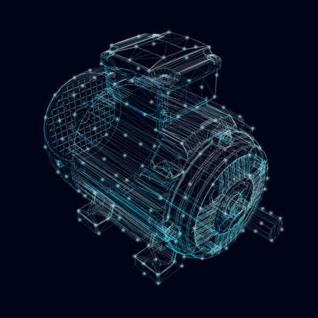 Electric motor frame made of blue lines with glowing lights on a dark background. Isometric view. 3D. Vector illustration Vettoriali
