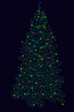 Wireframe of a Christmas tree made of green lines on a dark background with glowing lights. Vector illustratio Archivio Fotografico