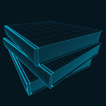 Wireframe of a stack of three books from blue lines on a dark background. 3D. Vector illustration