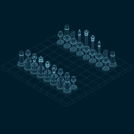Chessboard wireframe with chess pieces made of blue lines on a dark background. Isometric view. 3D. Vector illustration