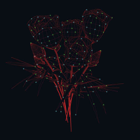 Wireframe of a bouquet of roses from red lines with glowing lights on a dark background. 3D. Vector illustration