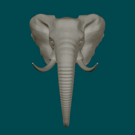 Elephant head isolated on blue background. 3D. Front view. Vector illustration