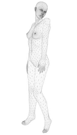 Wireframe of a girl in a sexy pose from black lines on a white background. 3D. Vector illustration