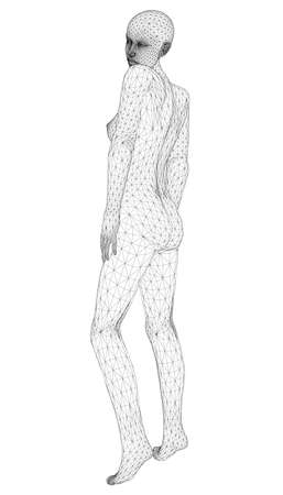 Wireframe of a girl in a pose from black lines on a white background. 3D. Vector illustration