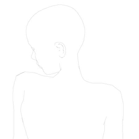 The contour of the girl from black lines on a white background. Back view. Vector illustration