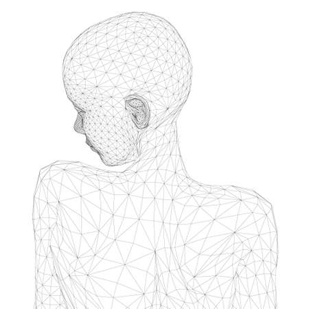 Wireframe of the girl from black lines on a white background. Back view. 3D. Vector illustration Иллюстрация