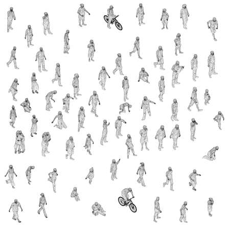 Set with different people in different positions. Wireframe figures of men, women, children. 3D. Vector illustration