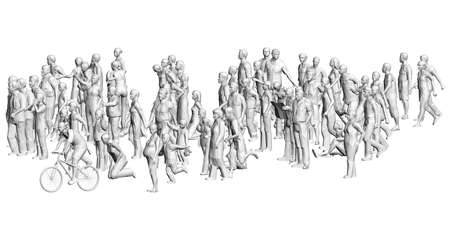 A crowd of different people in different positions. Polygonal figures of men, women, children. 3D. Vector illustration