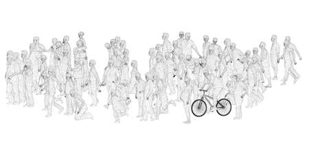 A crowd of different people in different positions. Wireframe figures of men, women, children. 3D. Vector illustration