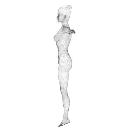 Wireframe of a sports woman from black lines on a white background. Side view. 3D. Vector illustration