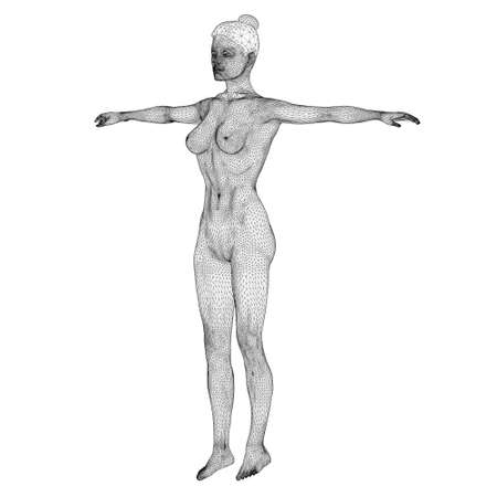 Wireframe of a sports woman from black lines on a white background. Front view. 3D. Vector illustration