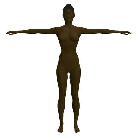 Black woman model with raised hands. Polygonal nude black girl isolated on white background. Front view. 3D. Vector illustration Иллюстрация
