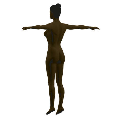 Black woman model with raised hands. Polygonal nude black girl isolated on white background. Back view. 3D. Vector illustration