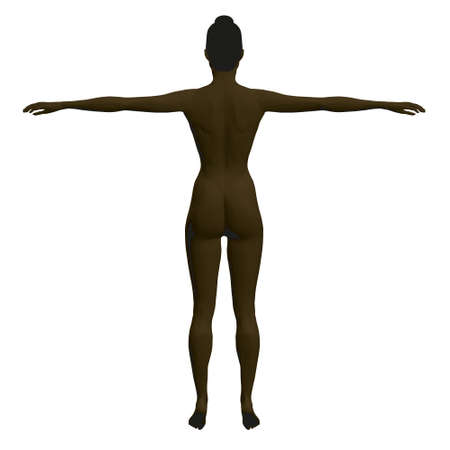 Black woman model with raised hands. Polygonal black girl isolated on white background. Back view. 3D. Vector illustration