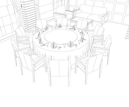 Restaurant interior outline with round table and chairs. Vector illustration