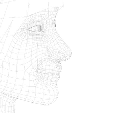 Wireframe of a girl head with a smile. Model of a girl head from black lines on a white background. 3D. Vector illustration