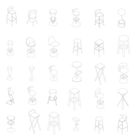 Set with many outlines of chairs and armchairs isolated on white background. Vector illustration