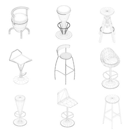 Set with frame chairs and armchairs isolated on white background. 3D. Isometric view. Vector illustration Иллюстрация