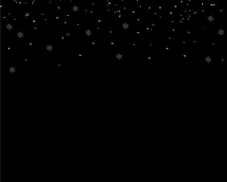 Background with snow. Many decorative snowflakes on a dark background. Vector illustration
