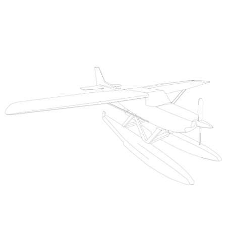 Airplane outline. Plane landing on the water. Vector illustration
