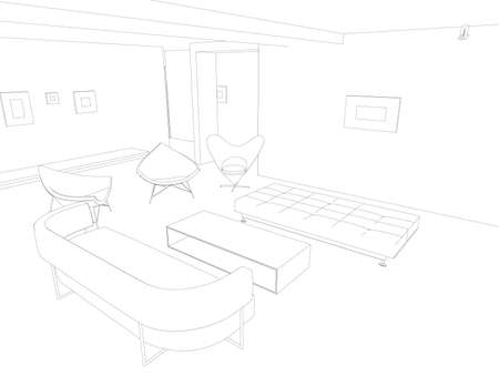The contour of the interior with armchairs and a sofa from black lines on a white background. 3D. Vector illustration