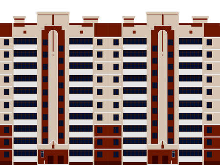 Multi-storey residential building. Front view. Vector illustration