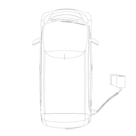 The circuit of an electric car on charging. View from above. Vector illustration