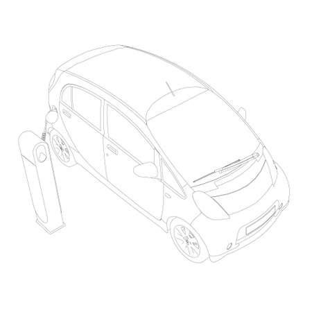 The circuit of an electric car on charging. Isometric view. Vector illustration