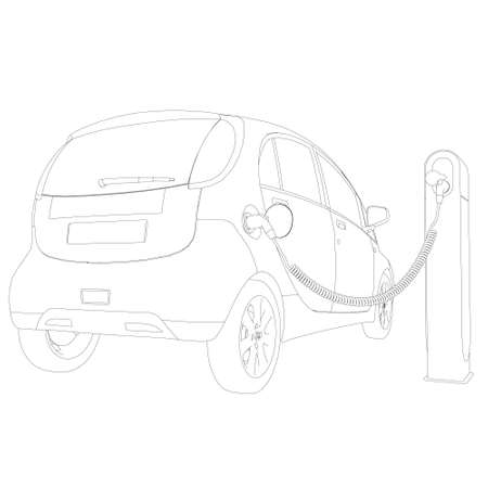 The circuit of an electric car on charging. Back view. Vector illustration